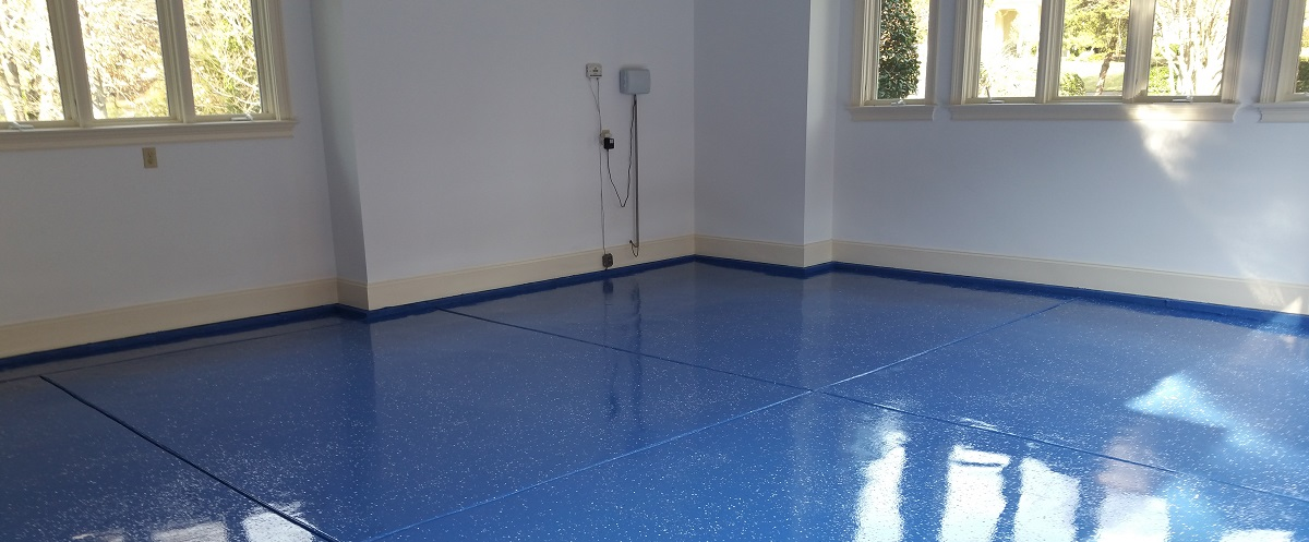 blue epoxy garage floor